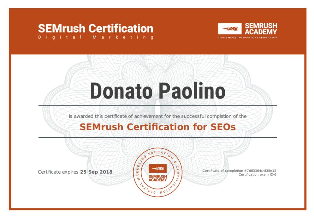 Certificato seo Semrush